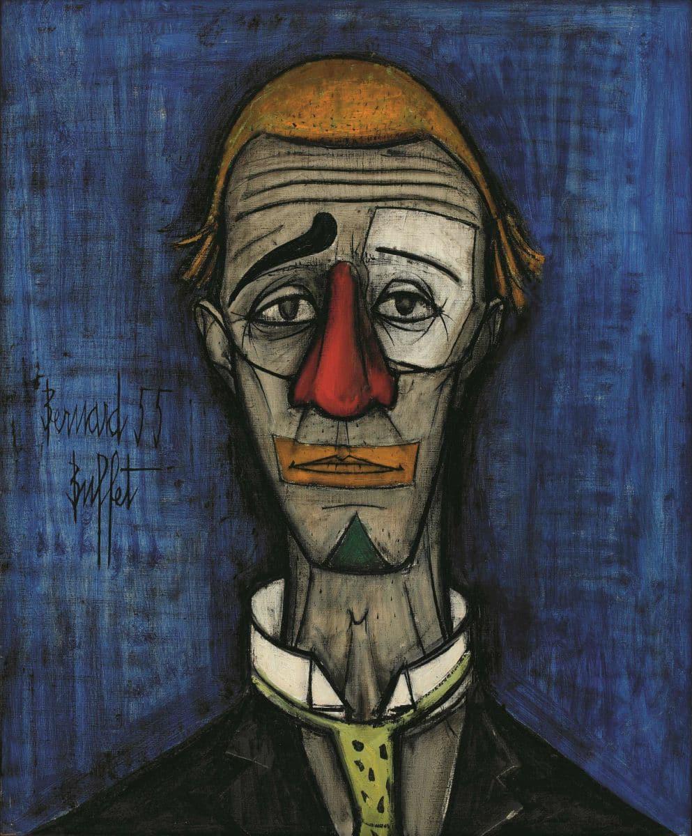 Б. Бюффе «Голова клоуна», 1955, холст, масло,73×60, Фонд Бернара Бюффе, Париж