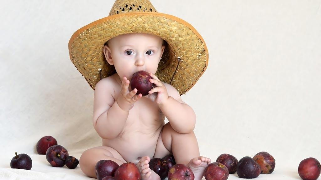 Маленький мальчик в шляпе ест яблоки, Установка